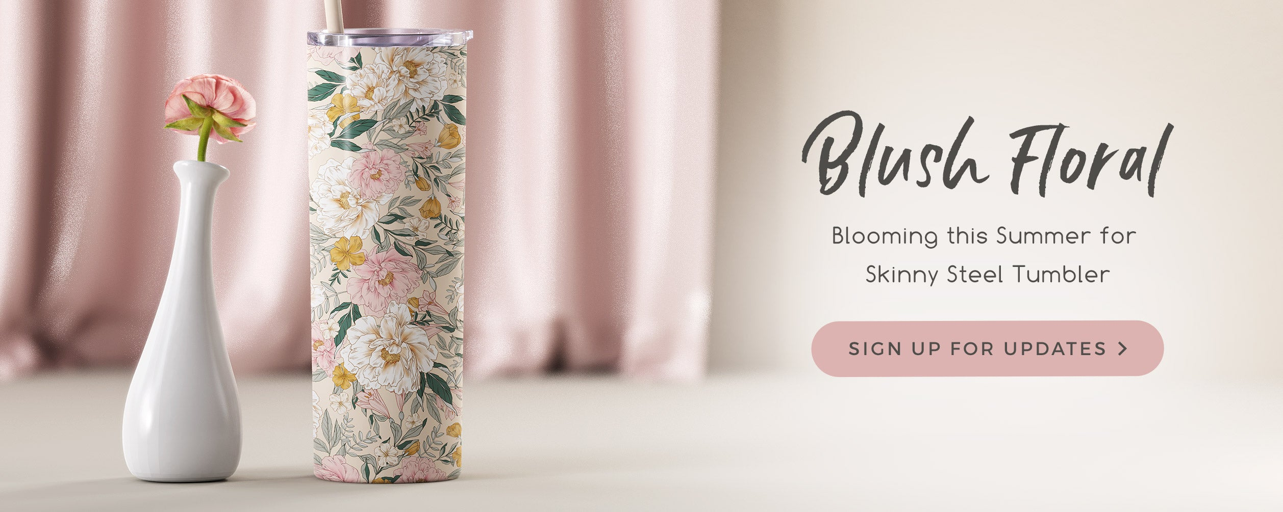 Wedding Blush Floral Skinny Steel Insulated tumbler wholesale bulk for Canada free shipping