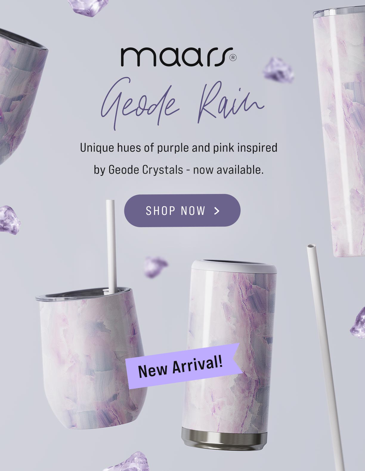 geode rain pink and purple crystal pattern wholesale bulk tumblers skinny steel bev wine tumbler can cooler koozy