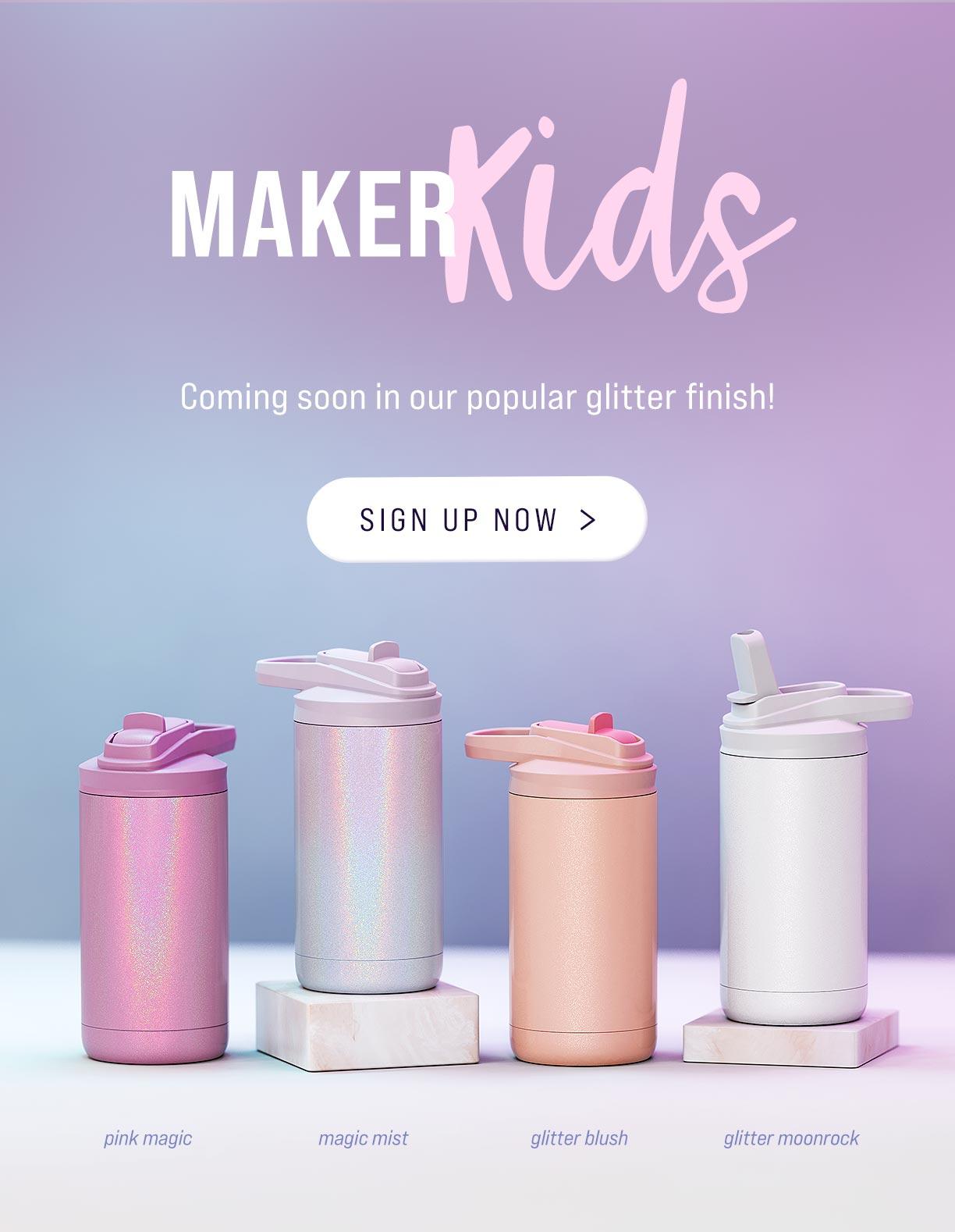 maker kids 12oz tumbler metal stainless steel glitter colors DIY cup sports bottle sip lid craft vinyl epoxy engrave bulk wholesale