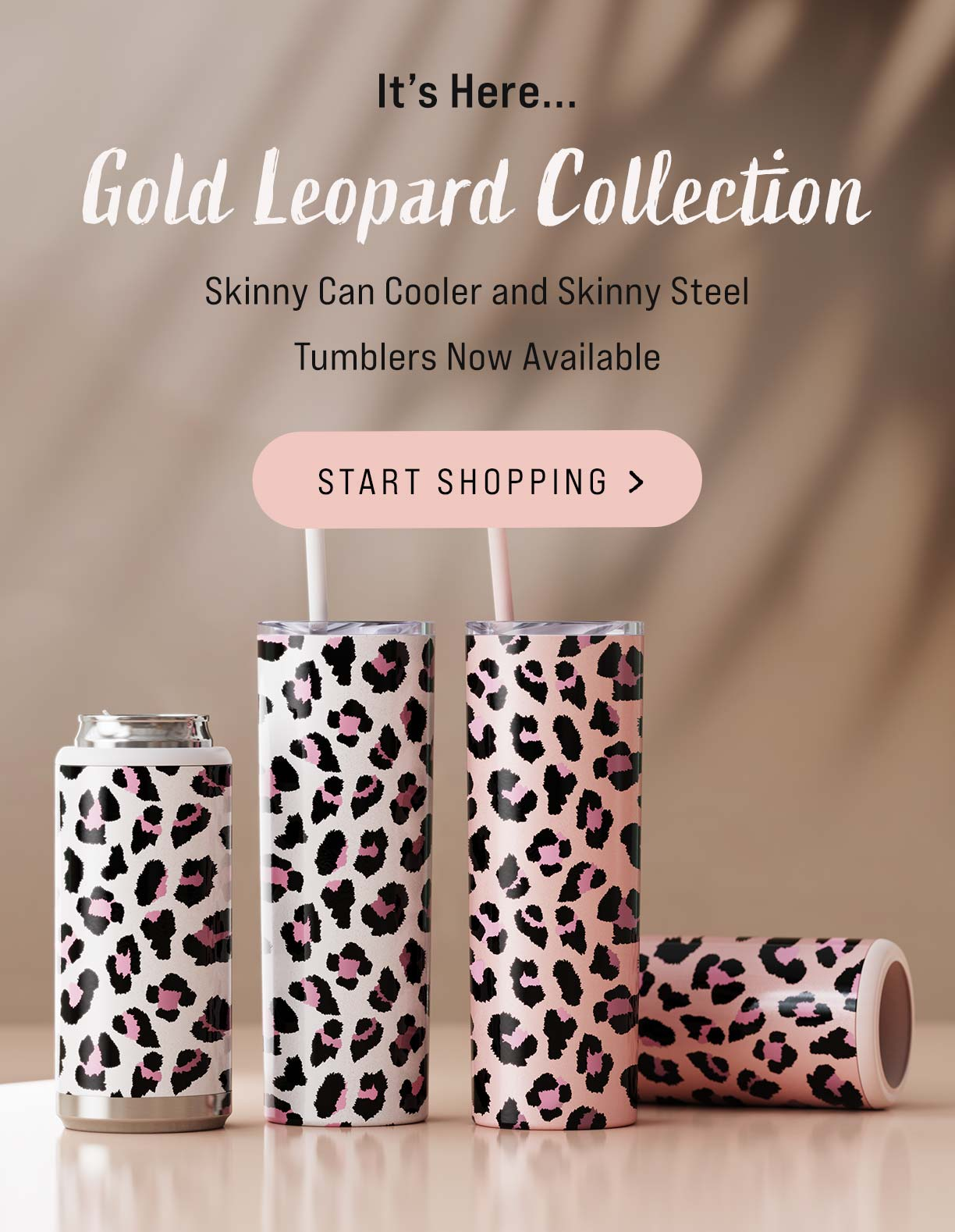 leopard launch can cooler slim skinny steel stainless tumblers reusable drinkware for all occasions rose gold spots blush and white DIY for crafters