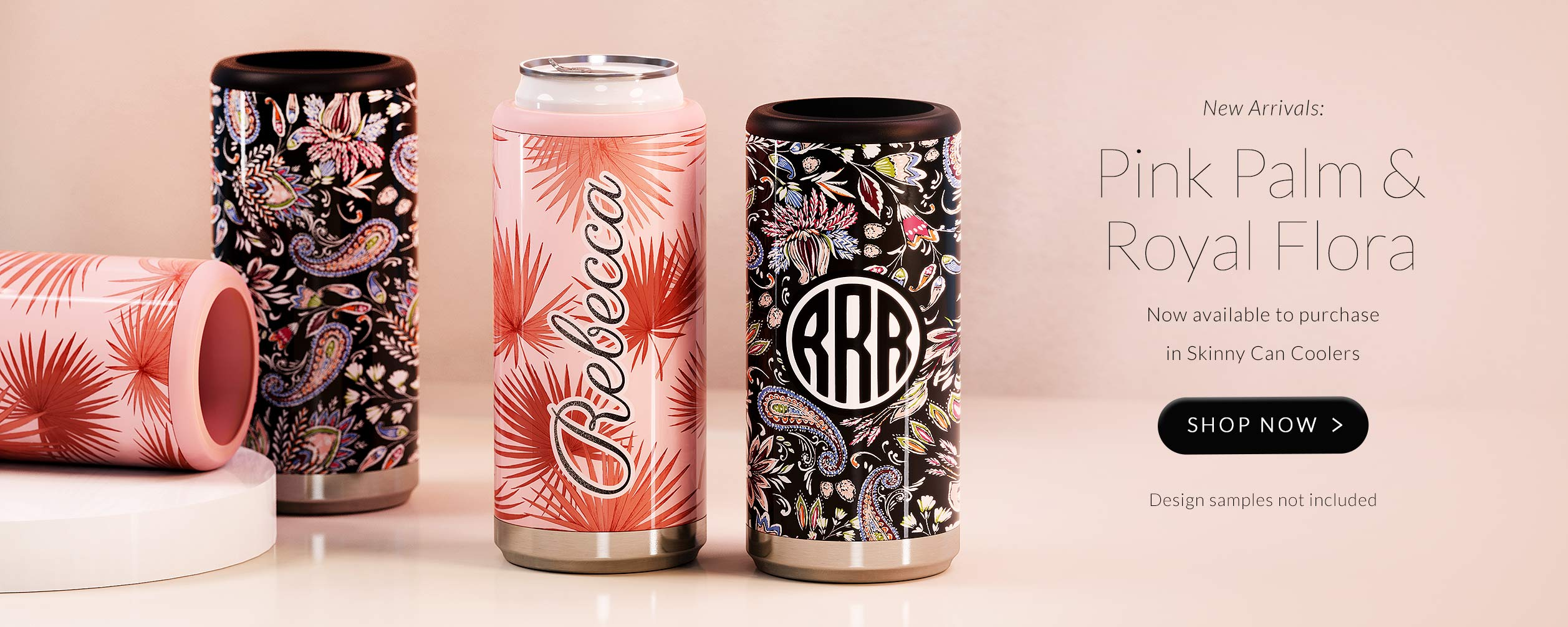 Launch page for our newest Skinny Can Cooler prints - Royal Flora and Pink Palms. Intricate paisley print and refreshing summer palms. Shop Now.