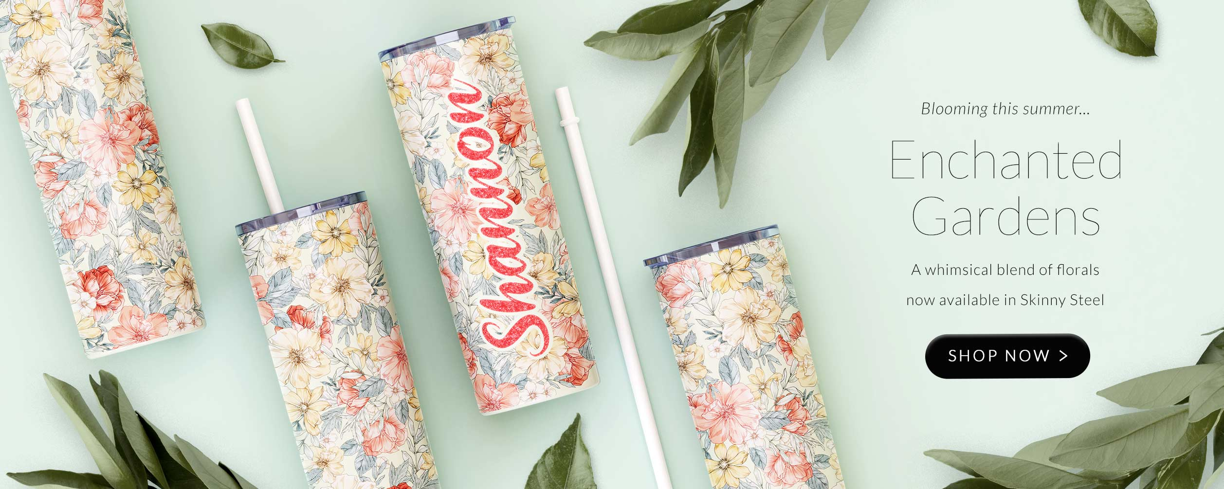 Launch page for our new Skinny Steel pattern Enchanted Gardens - whimsical blend of soft floral in an array of pastel shades.