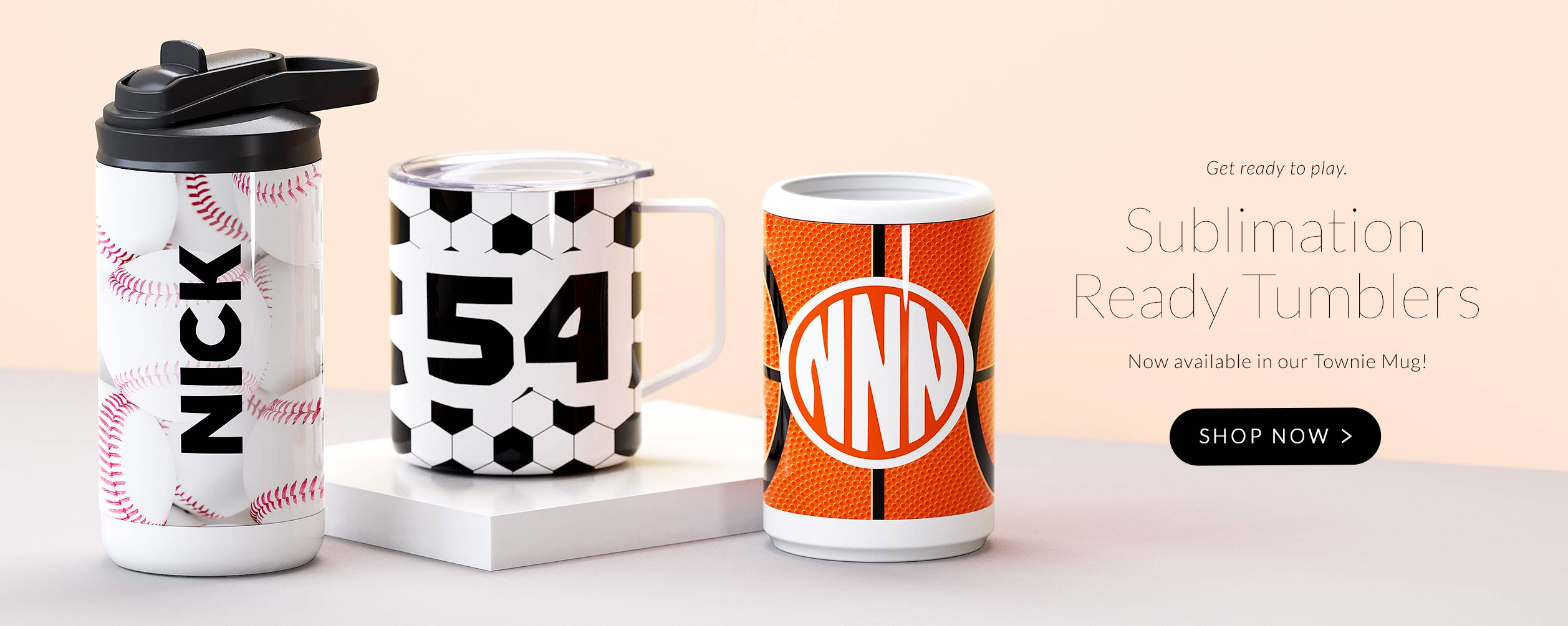 Sublimation Ready Townie Mugs are now available for purchase. Free shipping with low minimums on all orders.