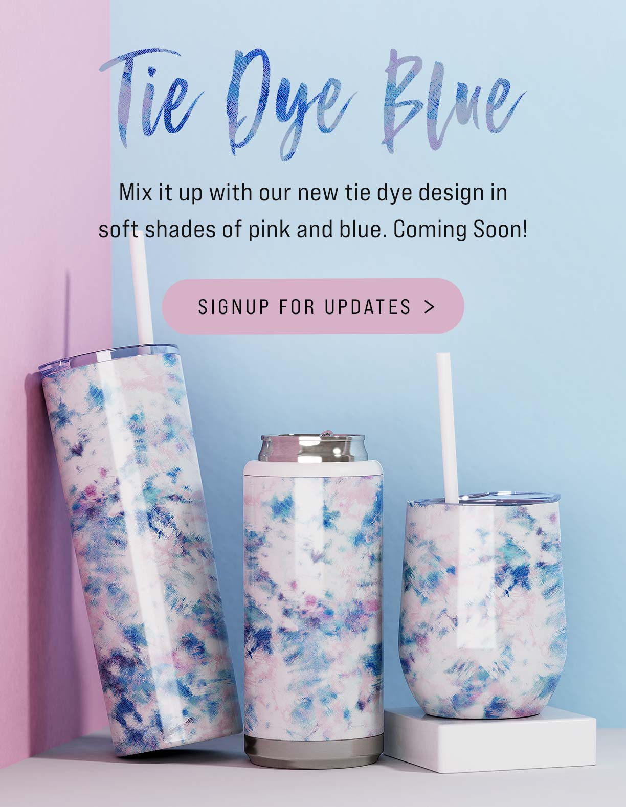 tie dye creation blue pink white mix swirls tumbler skinny steel bev wine wholesale bulk tumblers can cooler koozy