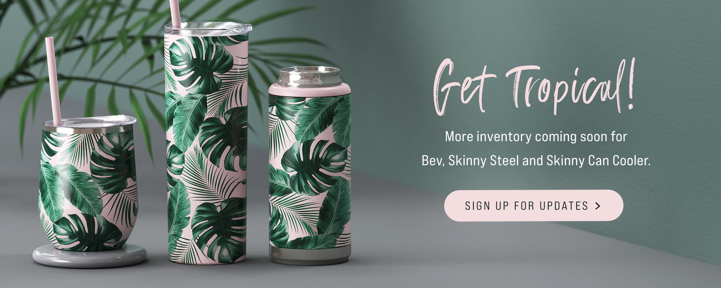 Tropical Print Skinny Can Cooler Steel Bev Wine Tumbler Release Pink Island Vibes Wholesale Bulk Tumblers Koozie Canada Shipping