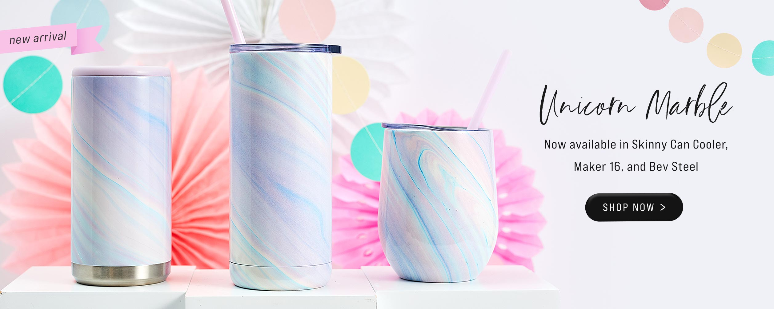 New Unicorn Marble color now available in Bev Steel Wine Tumbler, Skinny Can Cooler and Maker 16 oz.